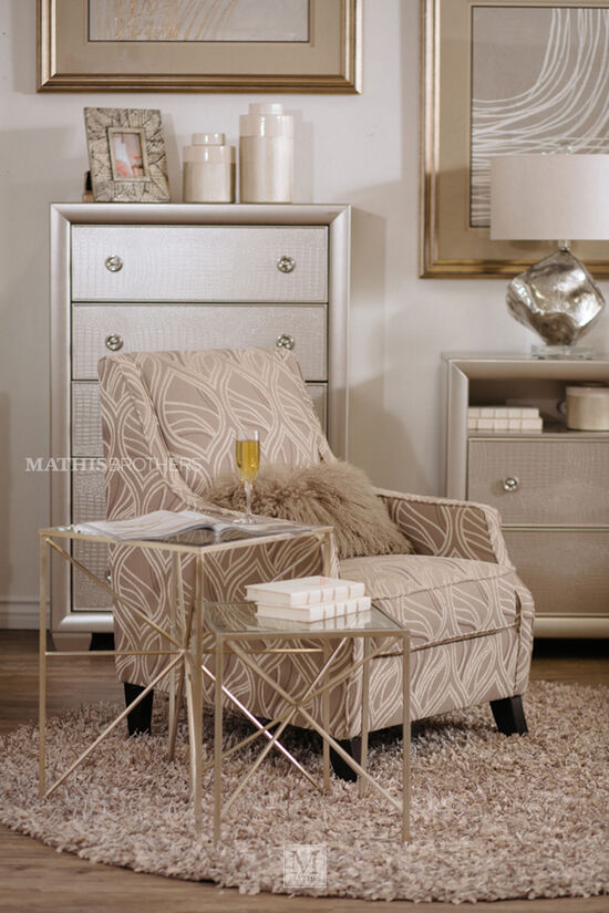 """54"""" Five-Drawer Transitional Chestin Glamour Silver"""