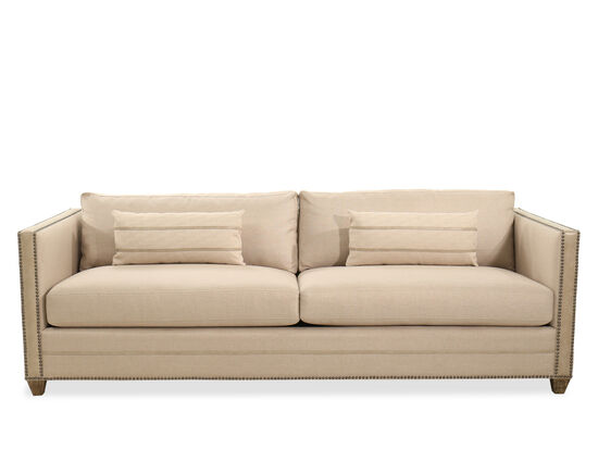 """Casual Nailhead-Accented 93.5""""Sofa in Beige"""