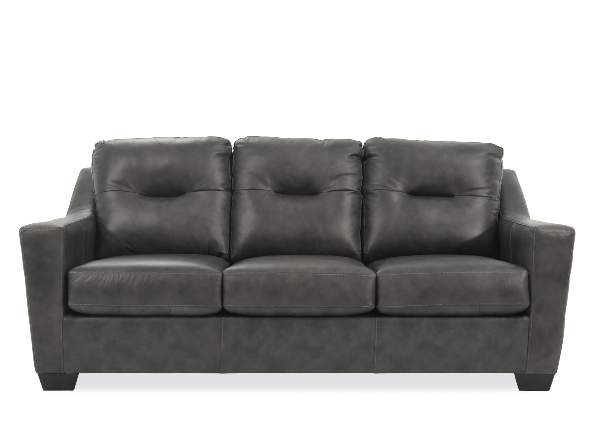 Contemporary Tufted 84u0026quot; Leather Sofa In Charcoal
