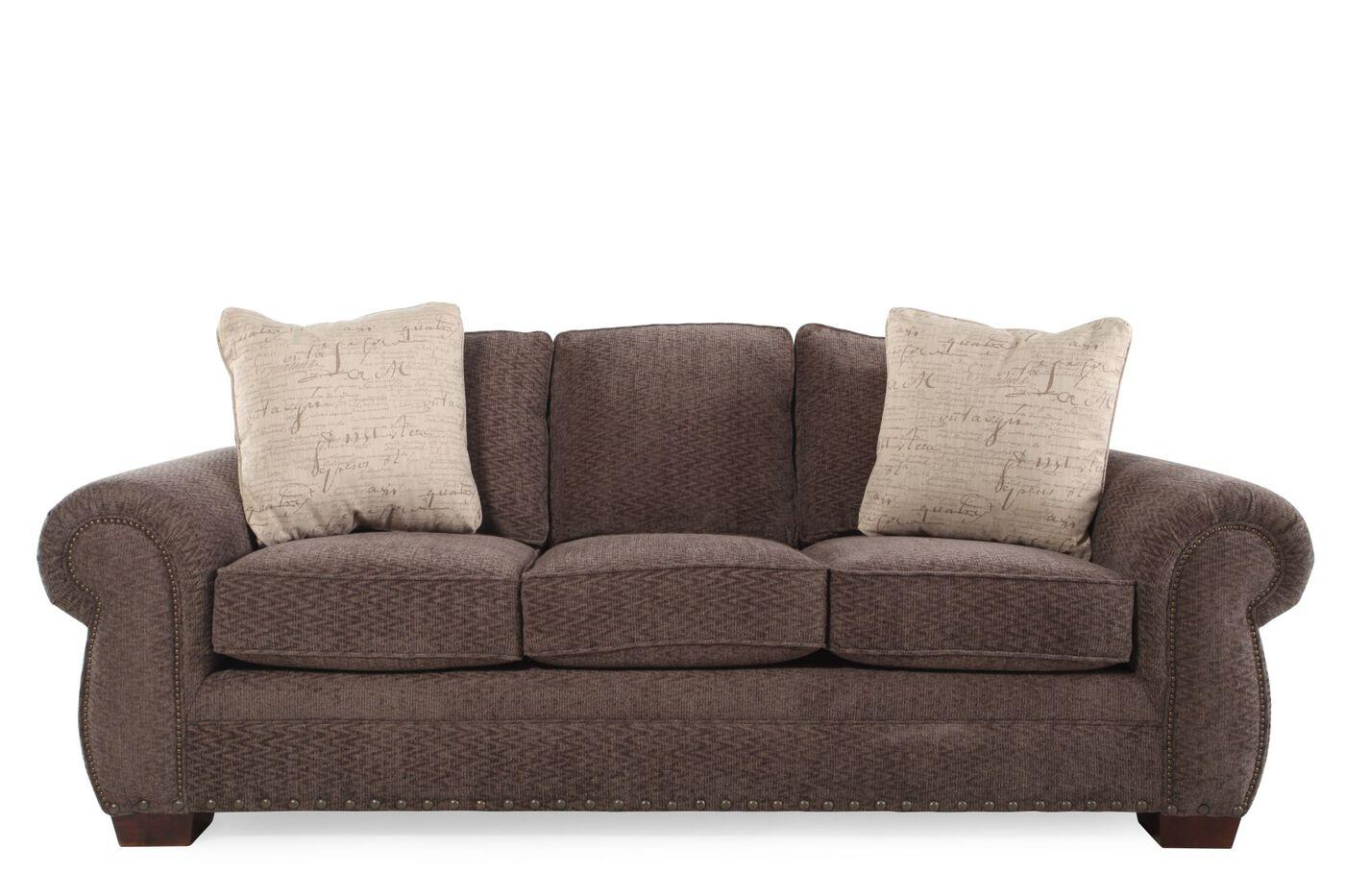 Broyhill Sofa Eigenschaften : Nailhead accented microfiber quot sofa in brown mathis