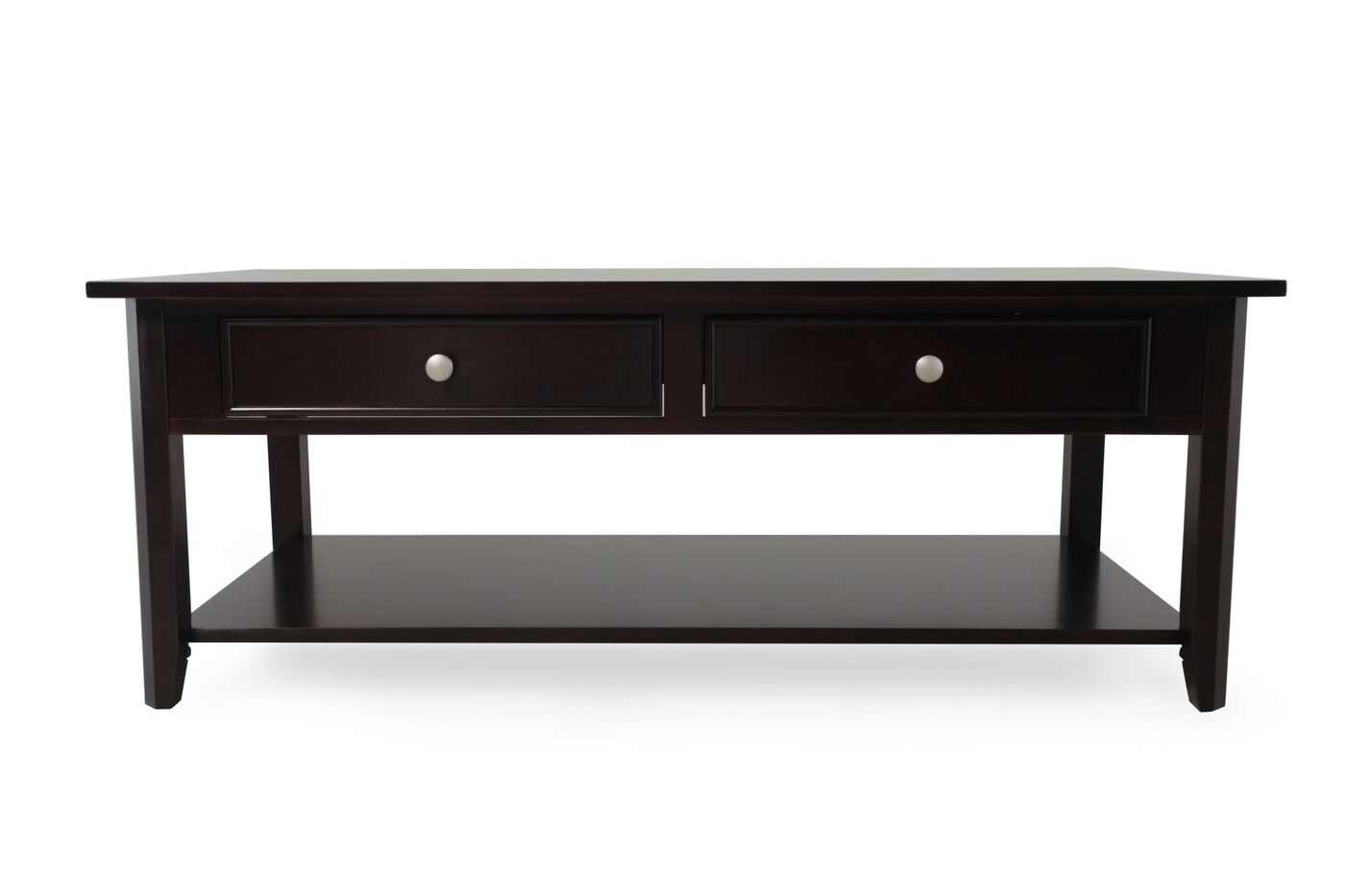 Two Drawer Transitional Cocktail Table In Espresso Mathis Brothers Furniture