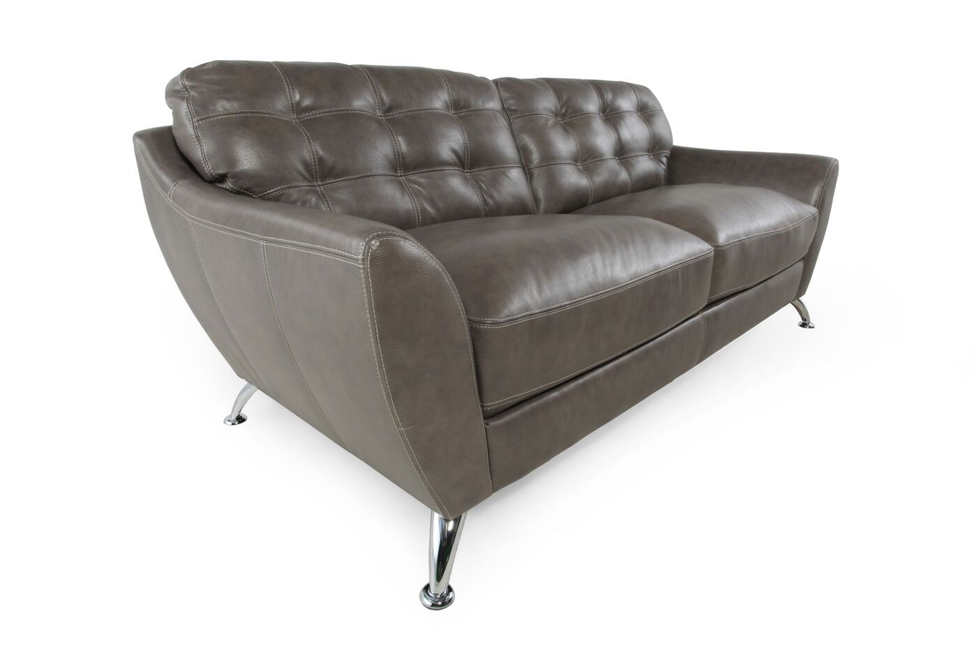 Tufted leather 84 sofa in steel gray mathis brothers for 84 inch sofa