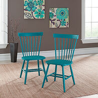 Two-Piece Spindle Back 36'' Chair Set in Peacock Blue