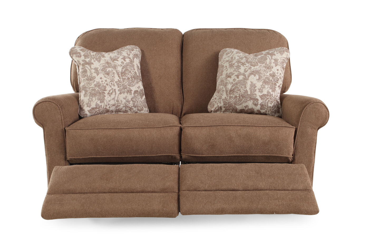 reclining traditional 59 5 loveseat in mushroom brown mathis brothers furniture. Black Bedroom Furniture Sets. Home Design Ideas