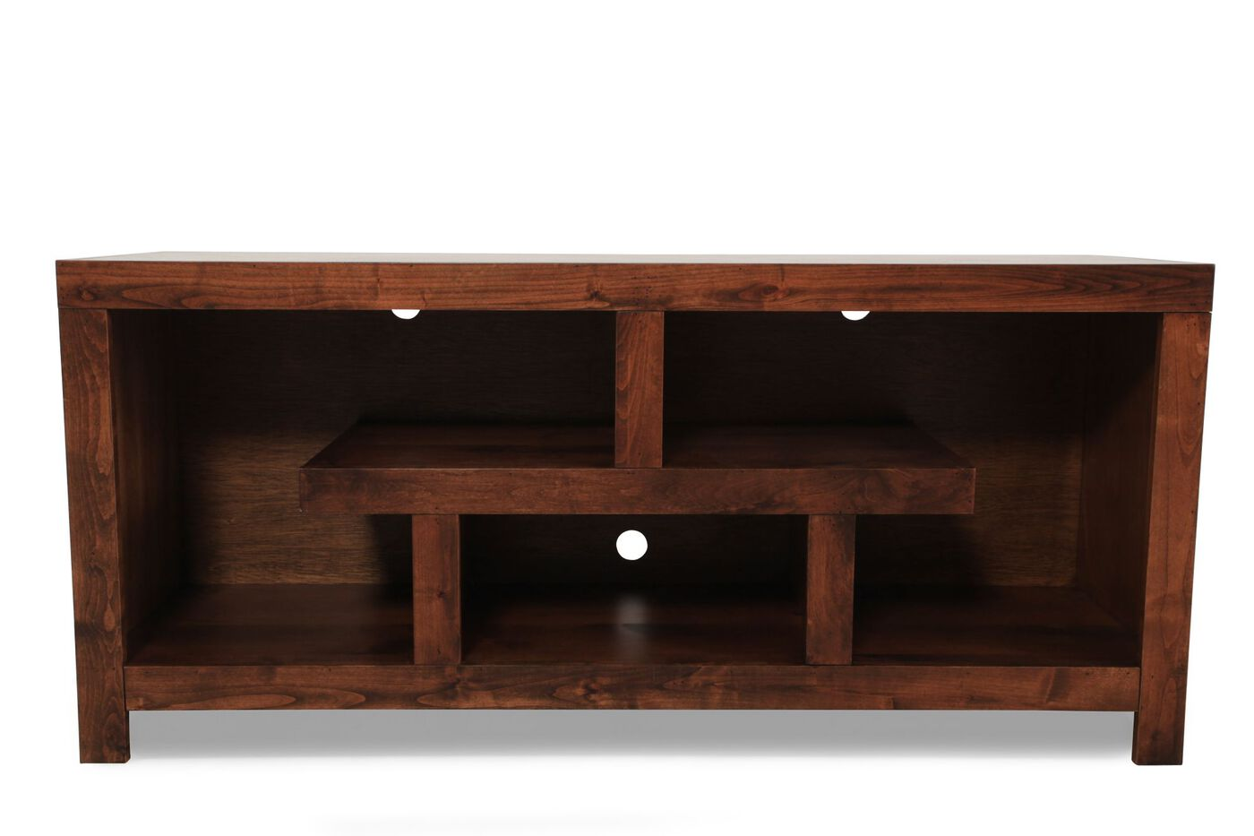 Open Shelves Contemporary Tv Console In Fruitwood Mathis Brothers Furniture