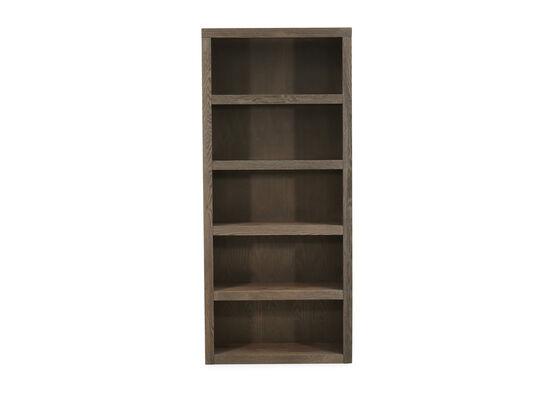 Five-Shelf Casual Open Bookcase in Medium Brown