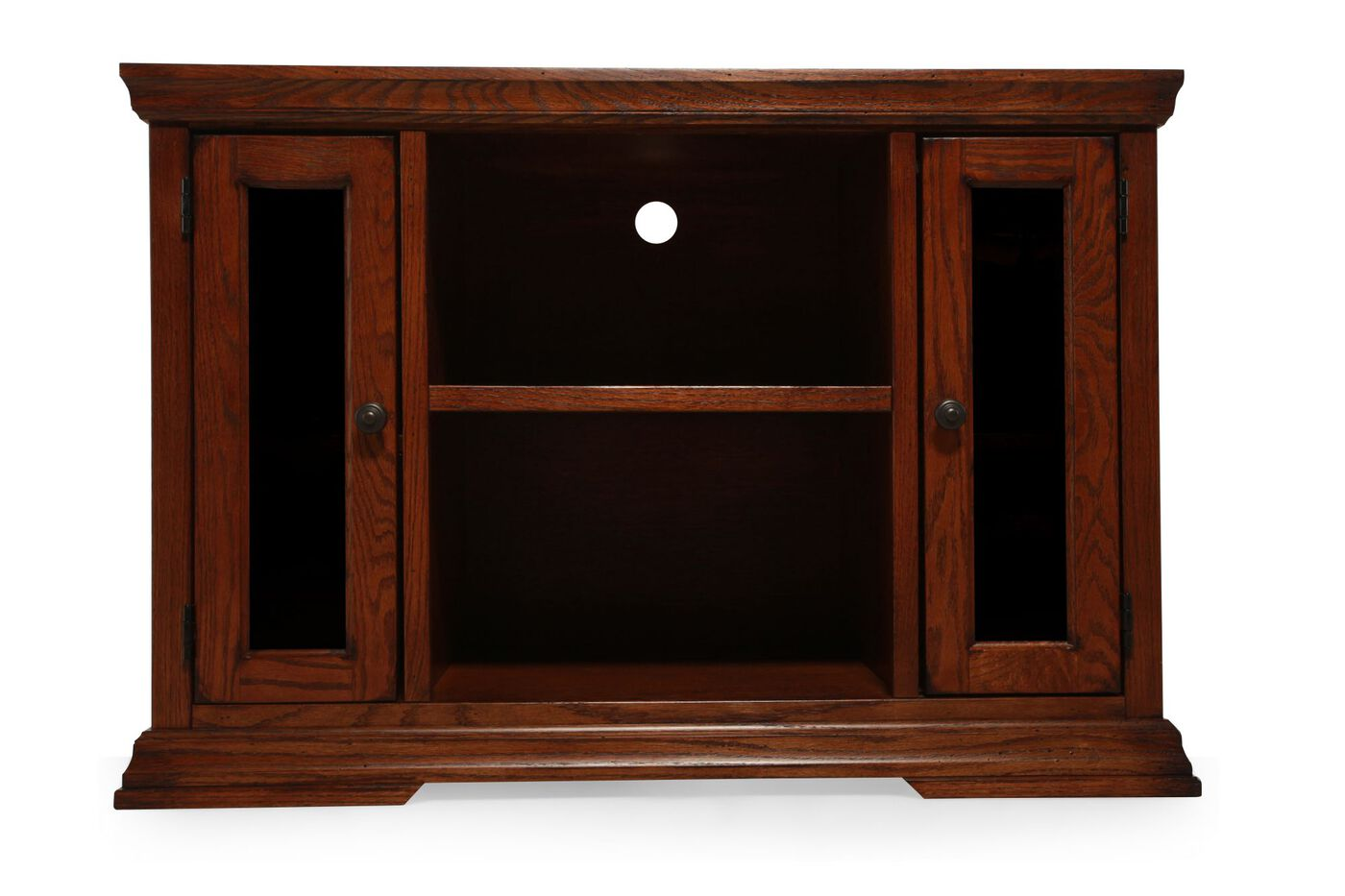 Two Glass Door Solid Oak Console In Rich Pecan Mathis