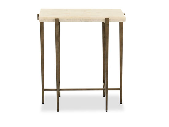 Gypsum-Top Modern Accent Table in Brown
