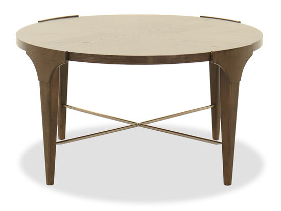 Transitional Round Cocktail Table in Brown