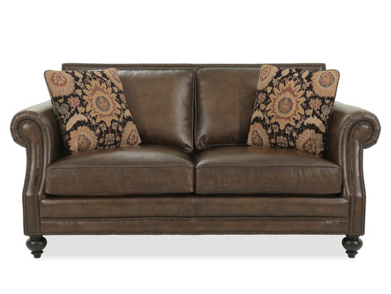 """Nailhead-Trimmed Leather 70.5"""" Loveseat in Brown"""