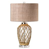 Rope-Woven Table Lamp in Brown