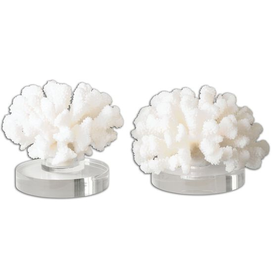Two-Piece Textured Hard Coral Sculptures in Cream