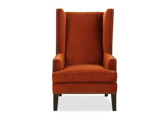 "31"" Nailhead-Accented Wing Chair in Orange"