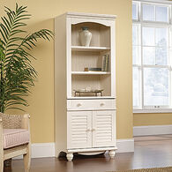 MB Home Hampshire Antiqued White Library with Doors