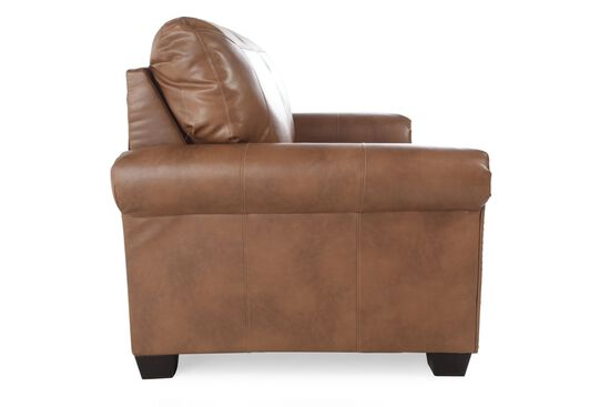 """Nailhead Accent Transitional 58"""" Twin Sleeper Loveseat in Almond Brown"""