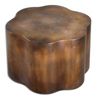 Carved Accent Table in Oxidized Copper