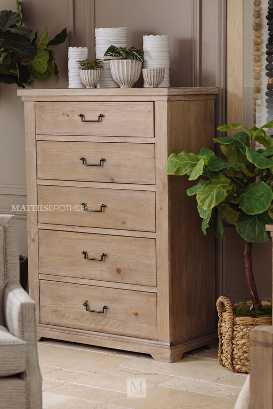 """59"""" Casual Five-Drawer Chest in Cypress"""