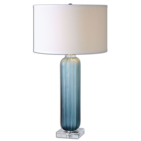 Cylindrical Frosted Glass Lamp in Blue