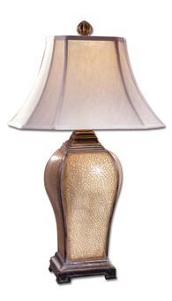 Square Bell Shade Crackled Table Lamp in Ivory