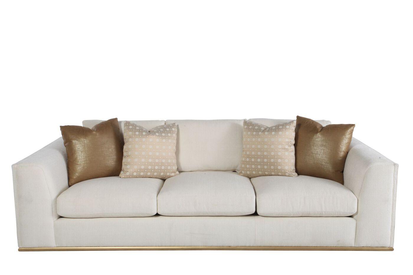 """Contemporary Low-Profile 107.5"""" Sofa in Cream   Mathis ..."""