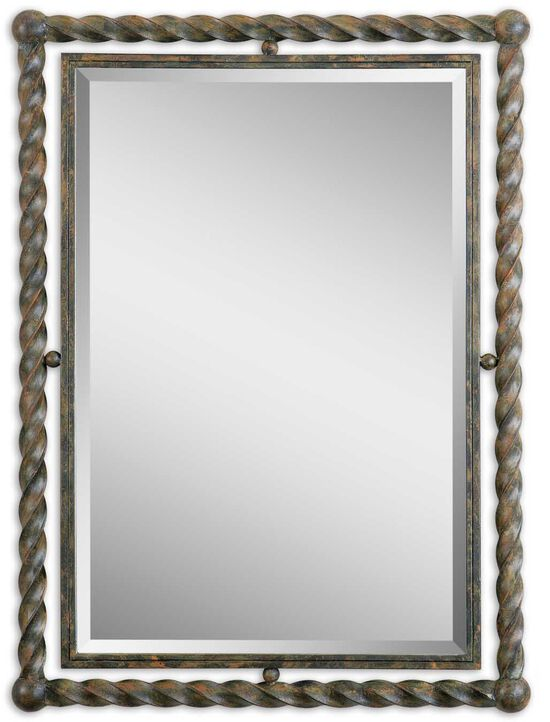 "35"" Twisted Frame Mirror in Heavy Rust Wash"