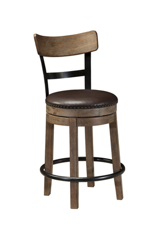 """Casual 37"""" Nailhead Accented Swivel Bar Stool in Light Brown"""