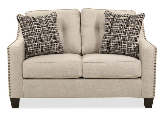 "Nailhead-Accented Contemporary 57"" Loveseat in Fog"