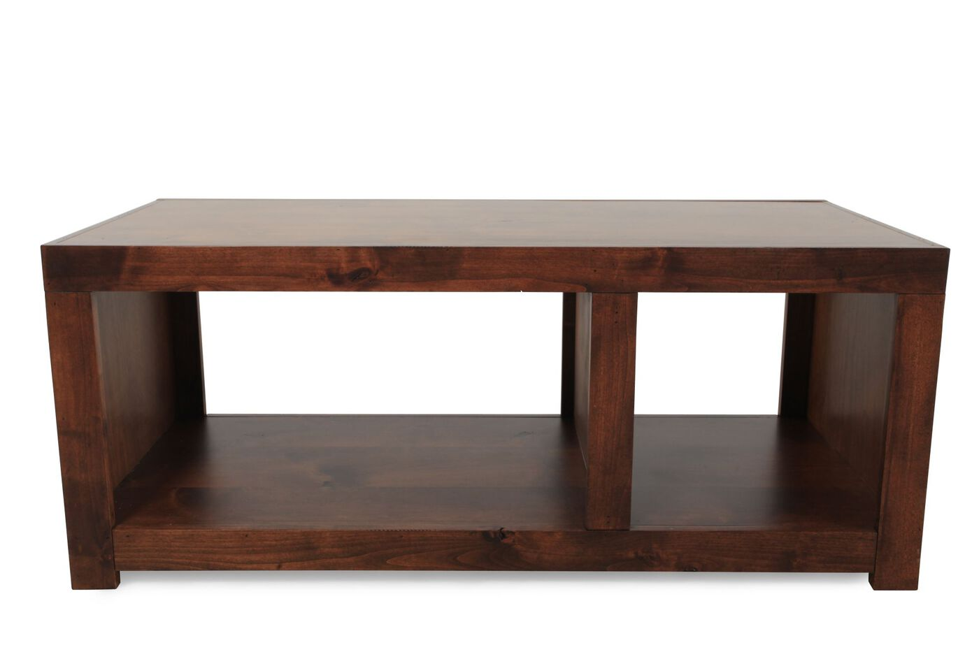 Contemporary Open Compartment Cocktail Table In Dark Fruitwood Mathis Brothers Furniture