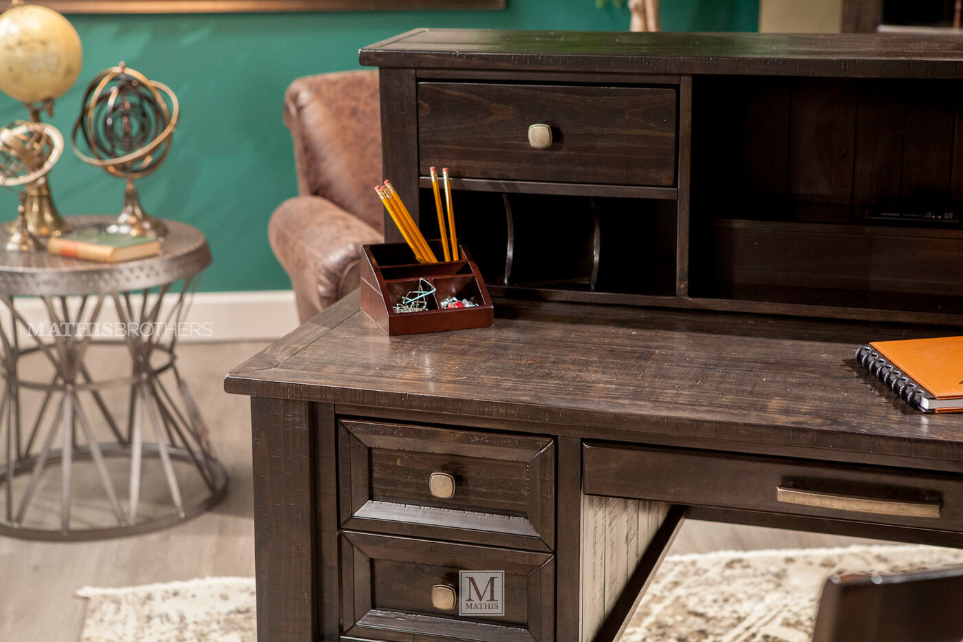 58 Two Drawer Solid Wood Desk Hutch