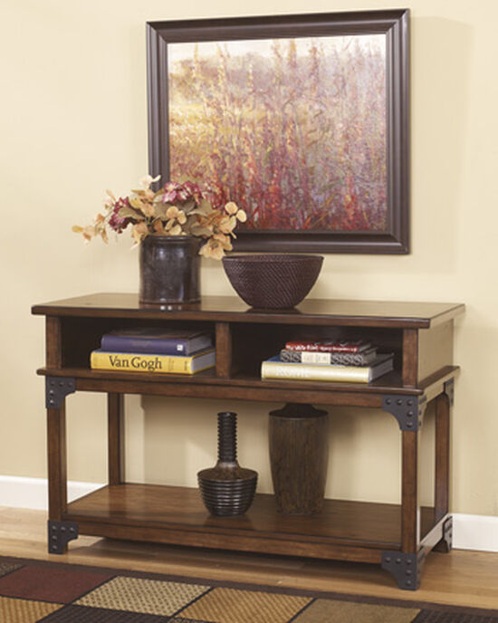 Nailhead Accented Casual Console Sofa Table in Medium Brown