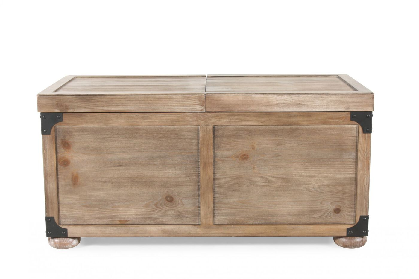 Casual storage cocktail table in weathered pine mathis for Pine coffee table with storage