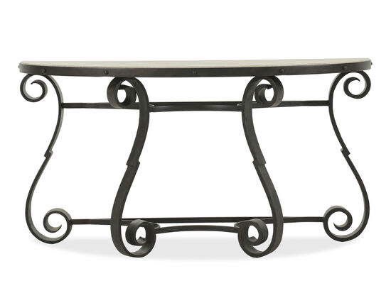 Scrolled Legs Traditional Console Sofa Table in Black