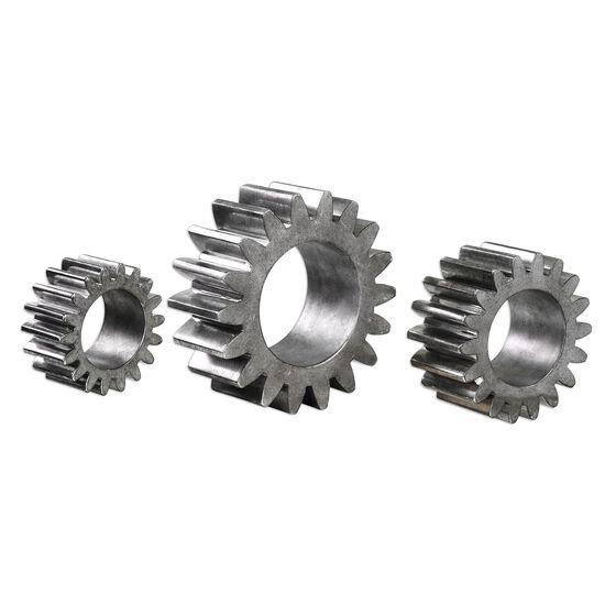 Three-Piece Gear Sculptures in Silver