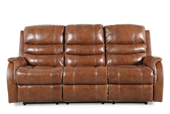 "Power Reclining 82"" Sofa with Adjustable Headrest in Brown"