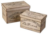 Two-Piece Decorative Chocolaterie Boxes in Aged Ivory