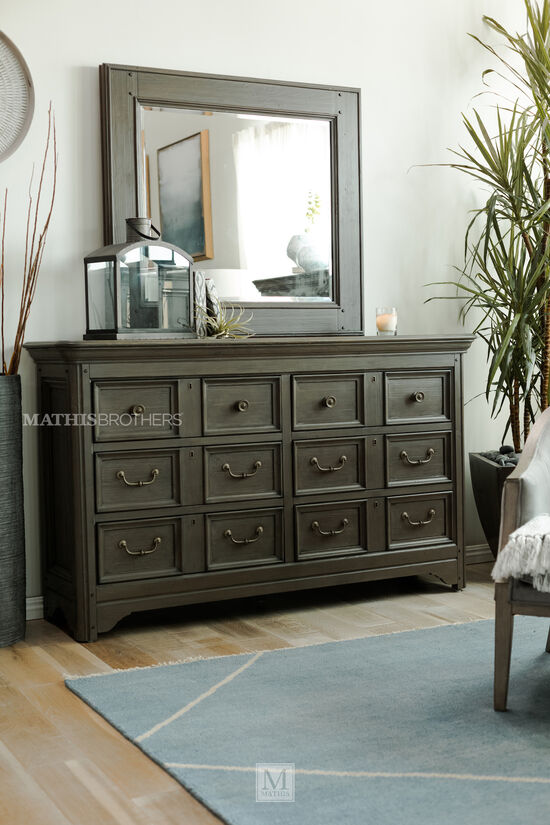 Two-Piece Solid Spruce Dresser and Mirror in Driftwood