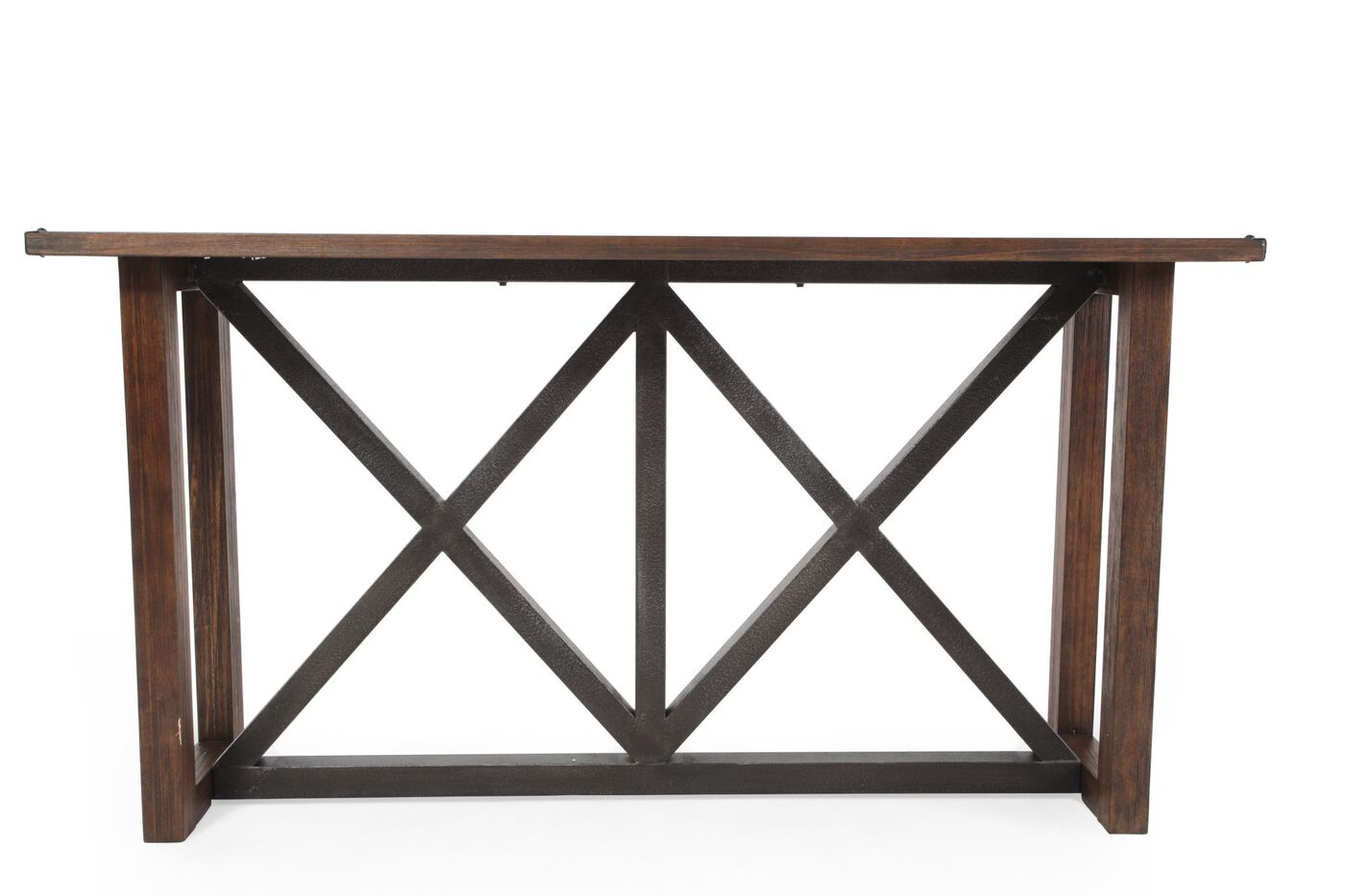 X braced contemporary sofa table in brown mathis for Sofa table vs console table
