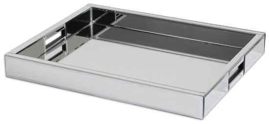 Mirrored Rectangular Tray in Silver
