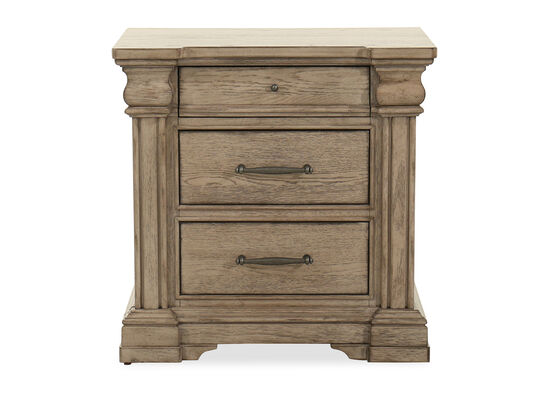 Traditional Three-Drawer Nightstand in Brown