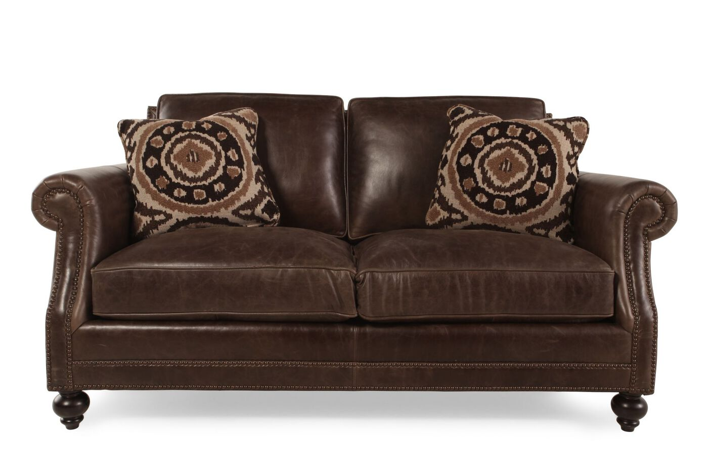 European classic leather loveseat in dark brown mathis for European leather sofa