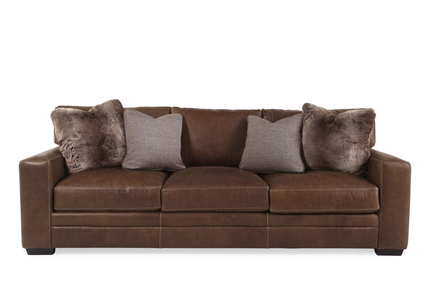"low-profile leather 98"" sofa in saddle brown 