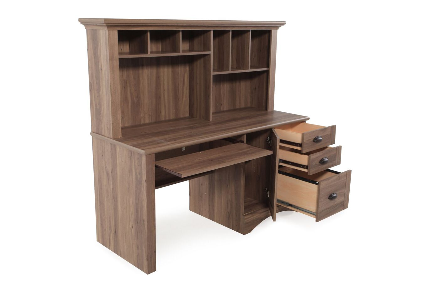 Casual Computer Desk with Hutch in Brown - Casual Computer Desk With Hutch In Brown Mathis Brothers Furniture