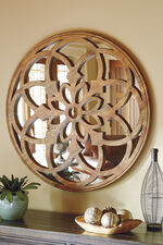 "40"" Casual Floret Carved Accent Mirror in Light Brown"