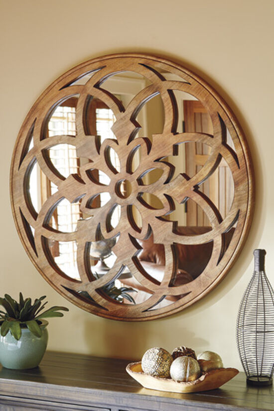 """40"""" Casual Floret Carved Accent Mirror in Light Brown"""