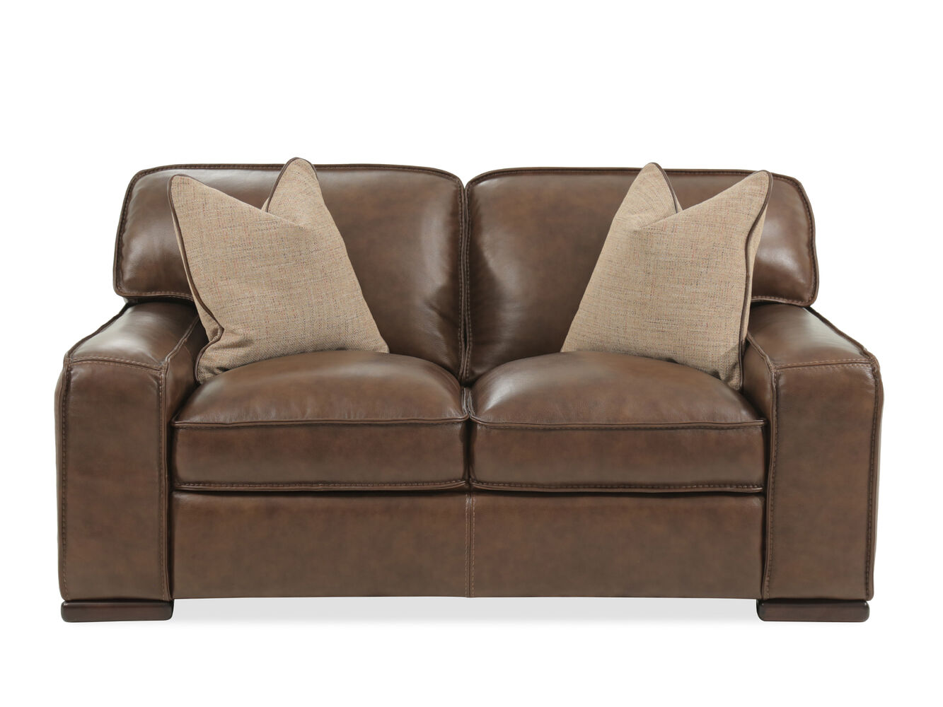 Traditional leather 69 loveseat in brown mathis for Traditional loveseat