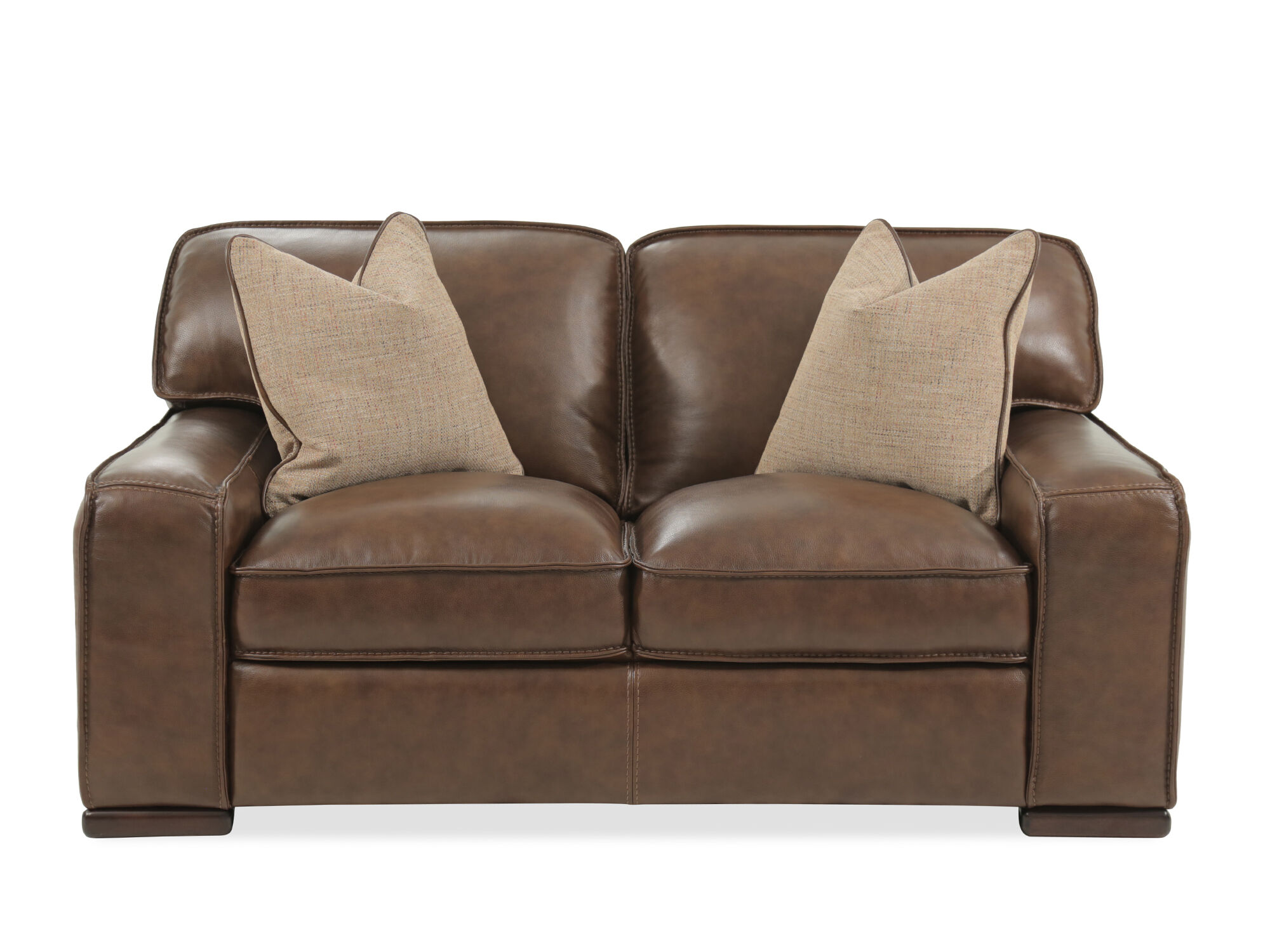 Images Traditional Leather 69u0026quot; Loveseat In Brown Traditional Leather  69u0026quot; Loveseat In Brown