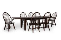 Seven-Piece Solid Oak Traditional 108'' Dining Set in Dark Brown