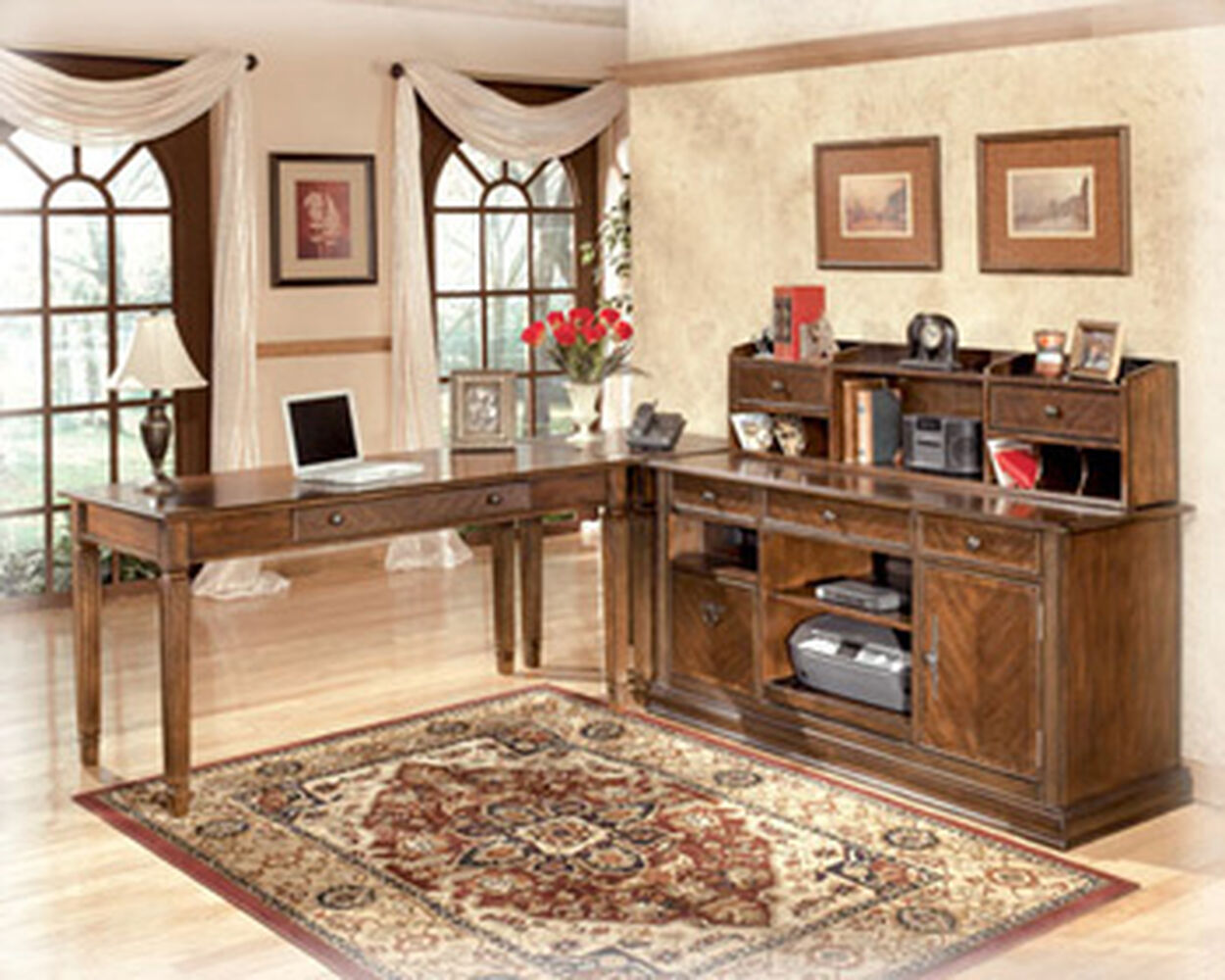 Images 56 5 Traditional Short Two Drawer Desk Hutch In Medium Brown