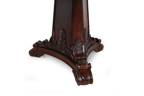 """Double Pedestal 46"""" to 82"""" Classic Ornate Dining Table in Medium Cherry"""