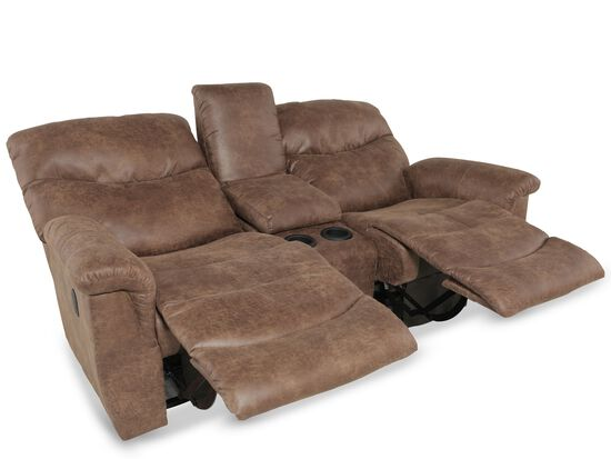 "Traditional 79"" Double Recliner in Medium Brown"